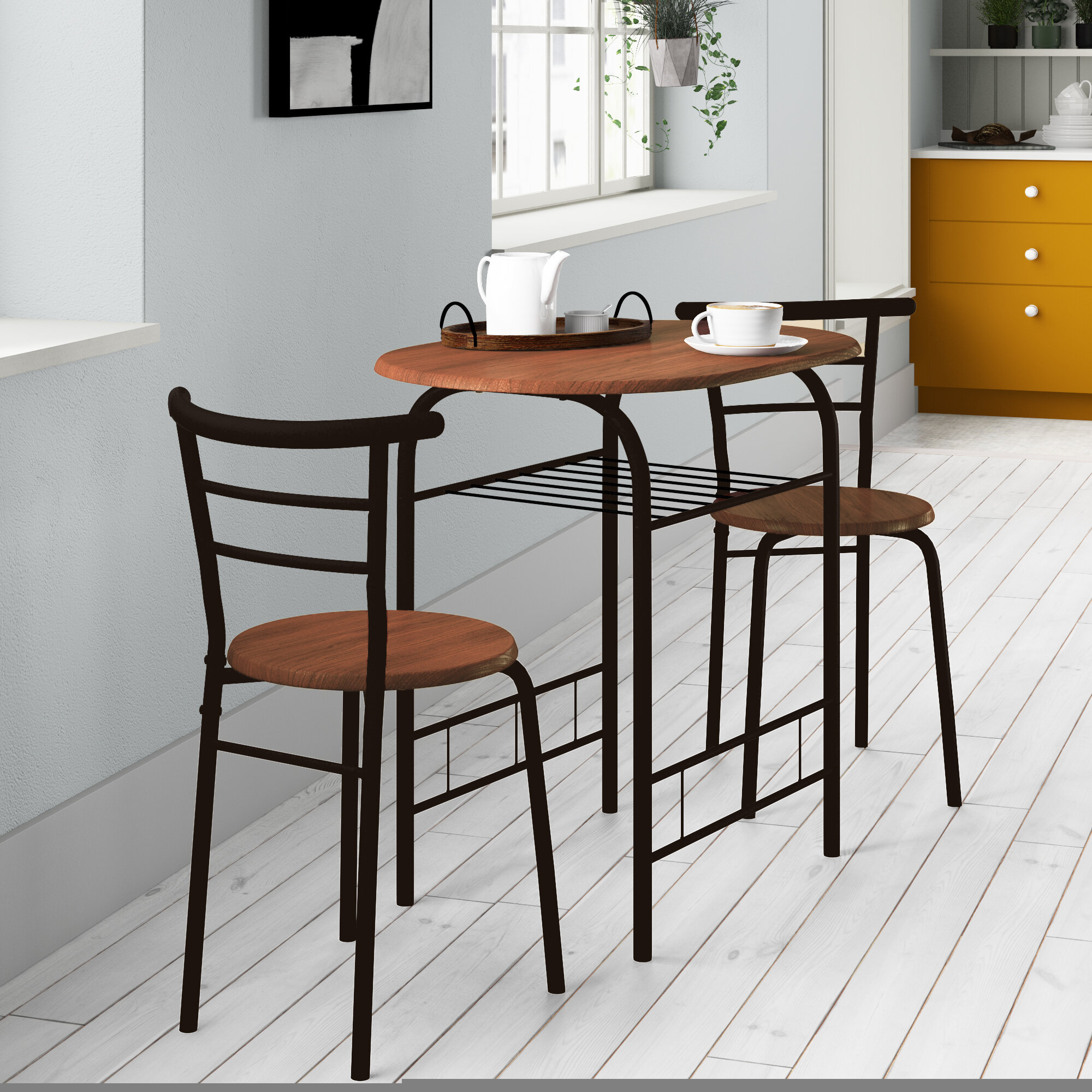Volmer 3 Piece Compact Dining Set With 2017 Debby Small Space 3 Piece Dining Sets (View 5 of 20)