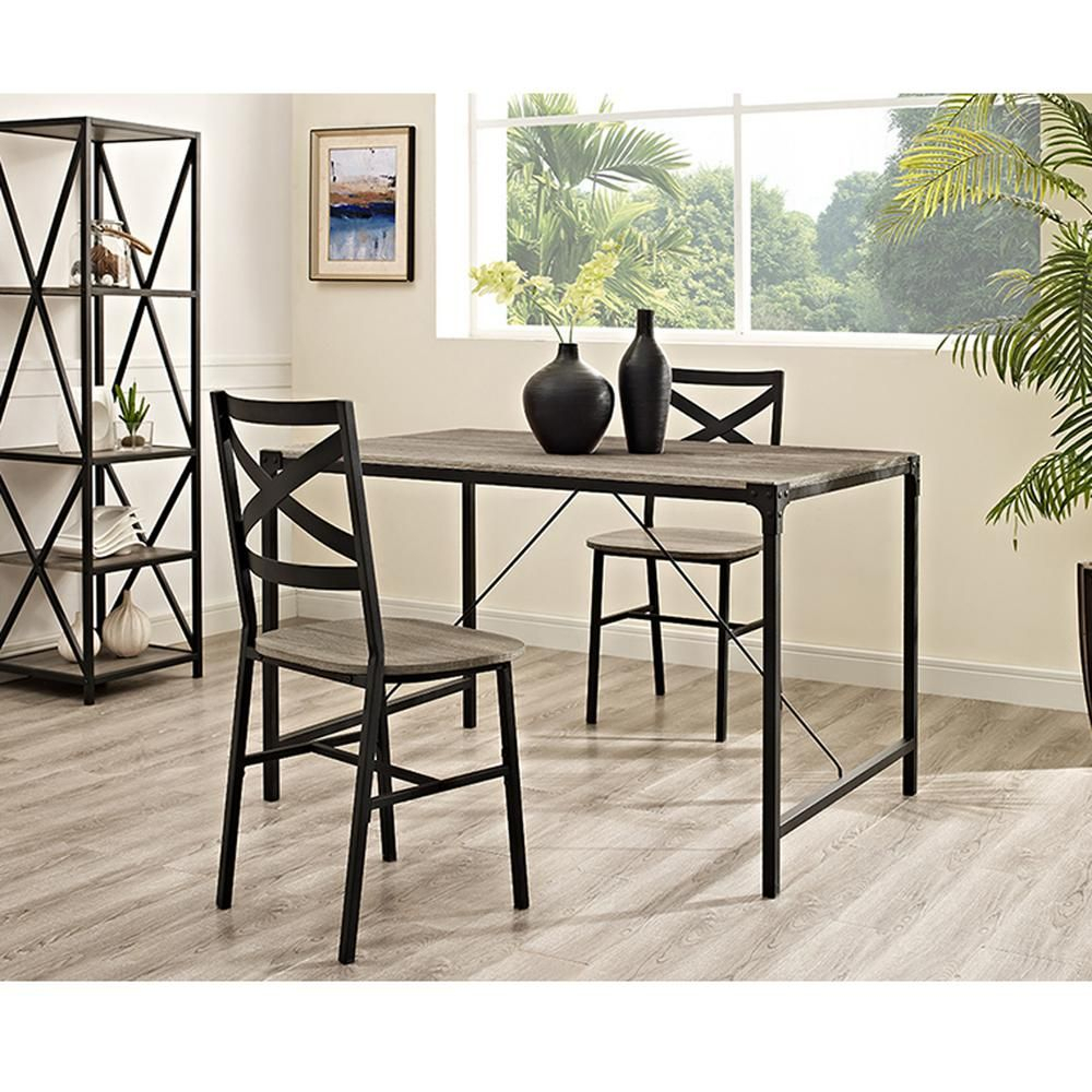 Walker Edison Furniture Company Angle Iron 5 Piece Driftwood Wood With Newest Telauges 5 Piece Dining Sets (View 7 of 20)