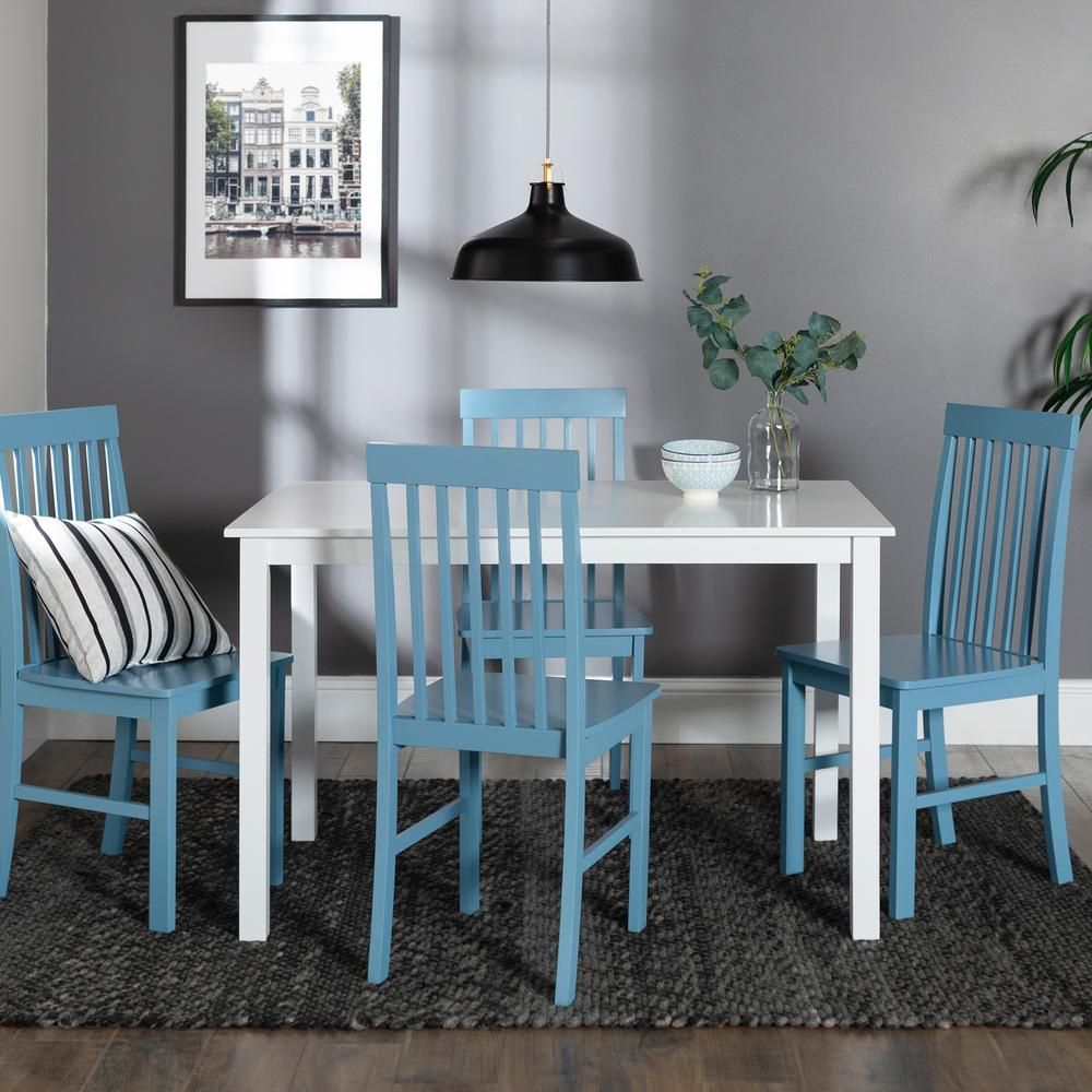 Walker Edison Furniture Company Greyson 5 Piece White And Powder In Recent Stouferberg 5 Piece Dining Sets (Image 20 of 20)