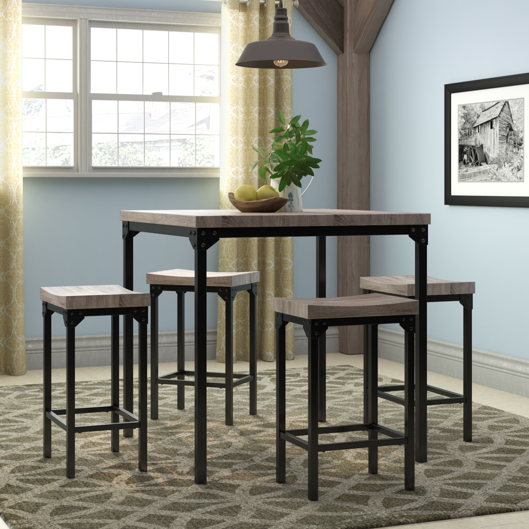Wegner 5 Piece Counter Height Dining Set Regarding Current Denzel 5 Piece Counter Height Breakfast Nook Dining Sets (Image 19 of 20)