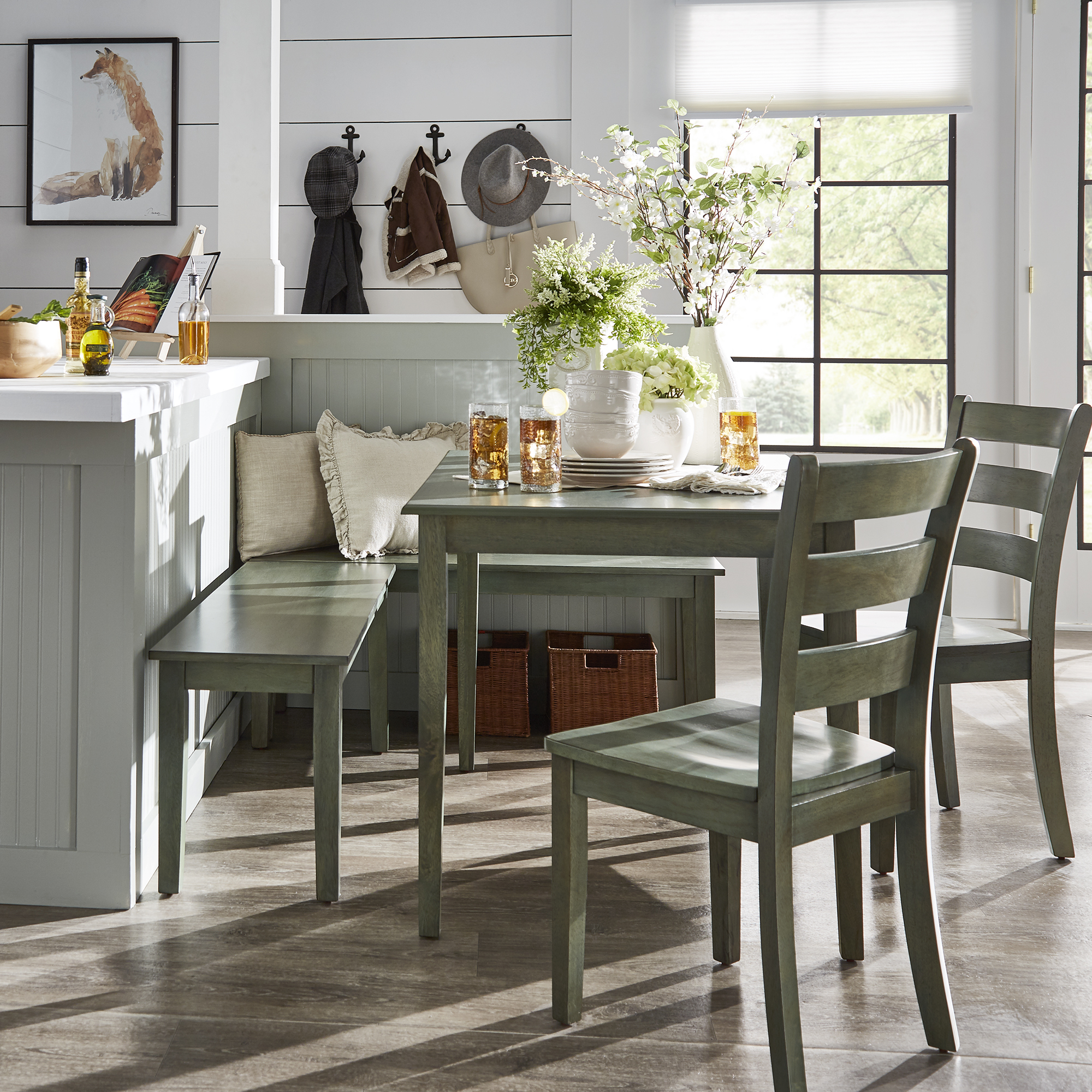 Weston Home Lexington 5 Piece Breakfast Nook Dining Set, Rectangular Table, Multiple Colors Inside Most Recently Released 5 Piece Breakfast Nook Dining Sets (View 3 of 20)