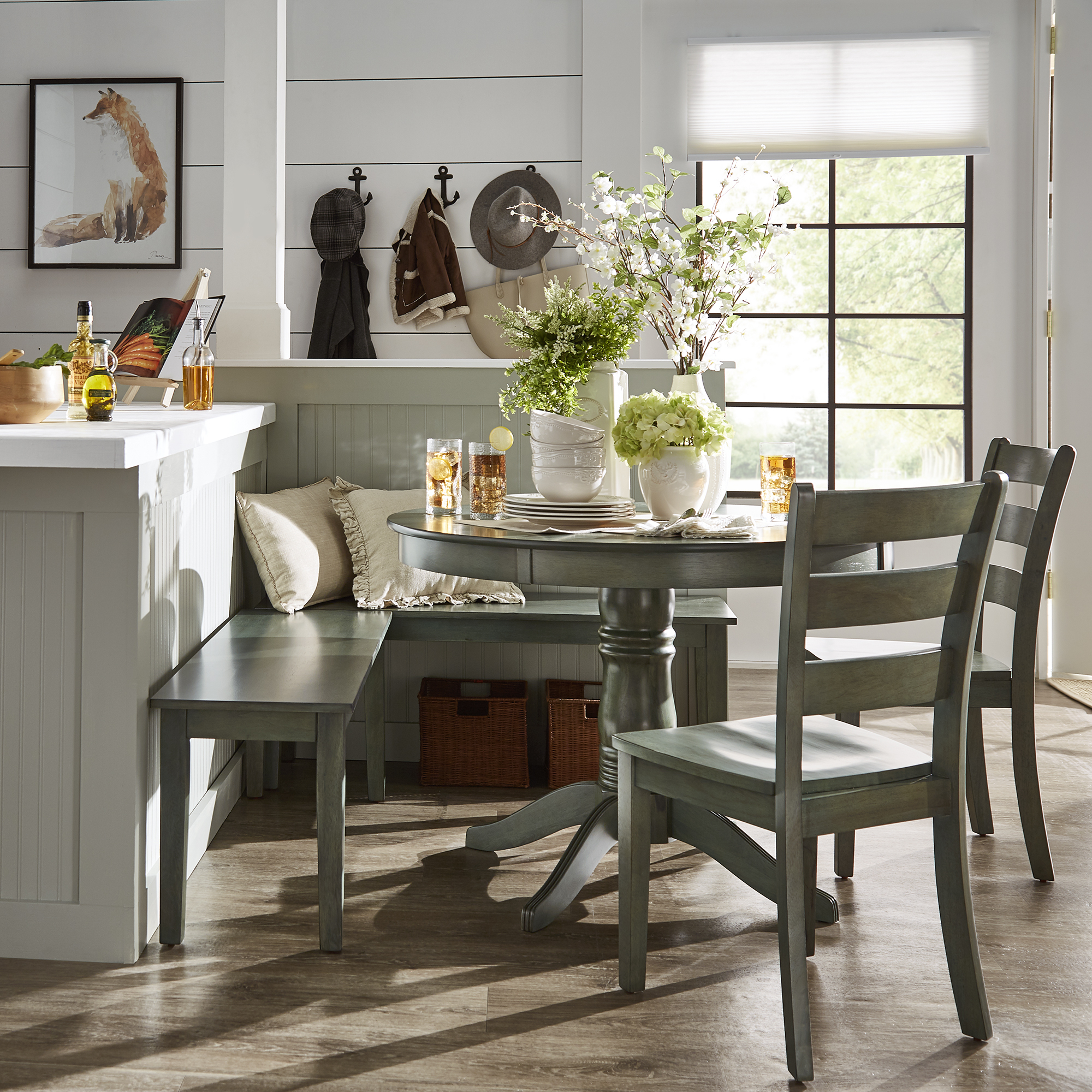 Weston Home Lexington 5 Piece Breakfast Nook Dining Set, Round Table, Multiple Colors For Most Up To Date 5 Piece Breakfast Nook Dining Sets (View 5 of 20)
