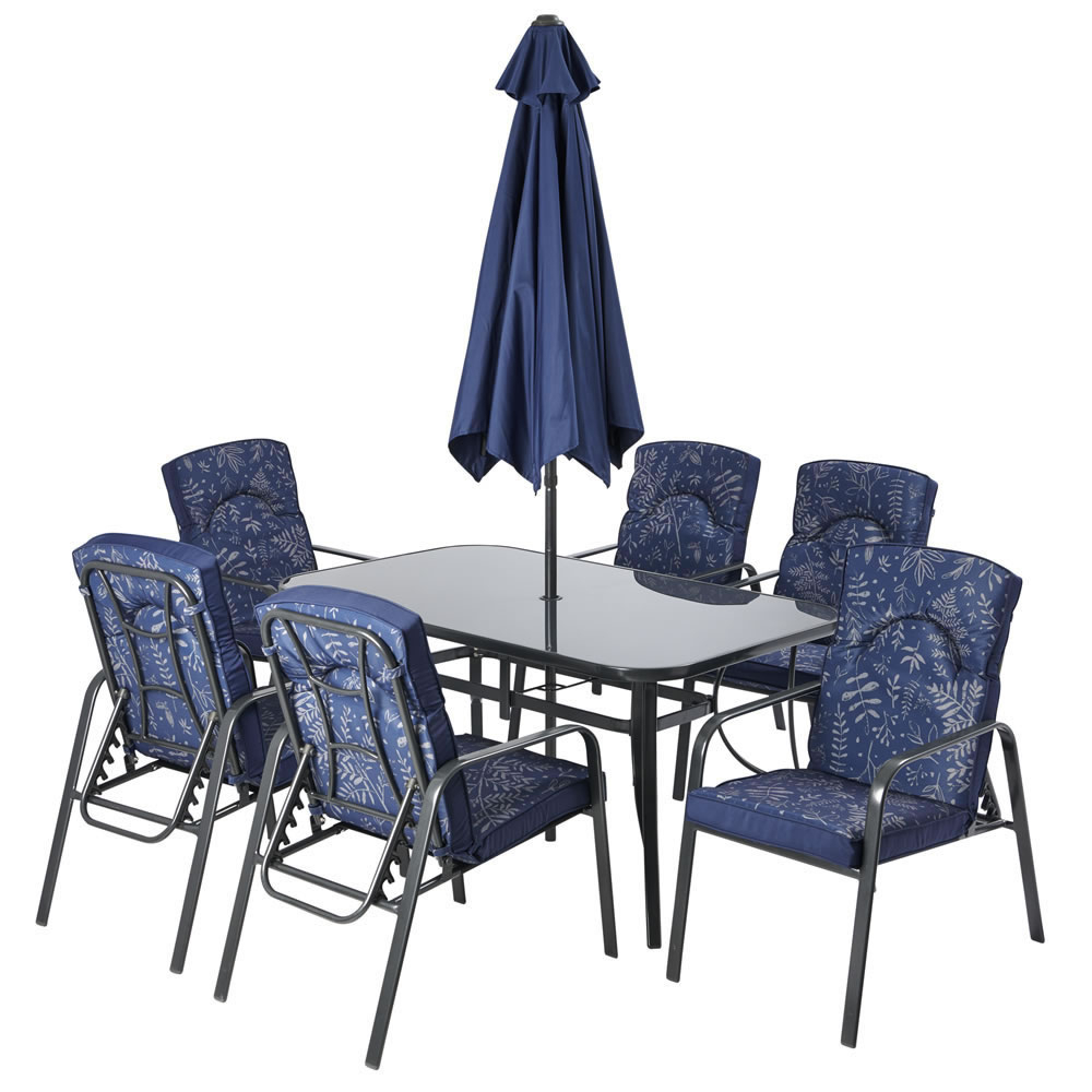 Wilko Venice Padded Six Seat Garden Set Pertaining To 2018 Northwoods 3 Piece Dining Sets (Image 19 of 20)