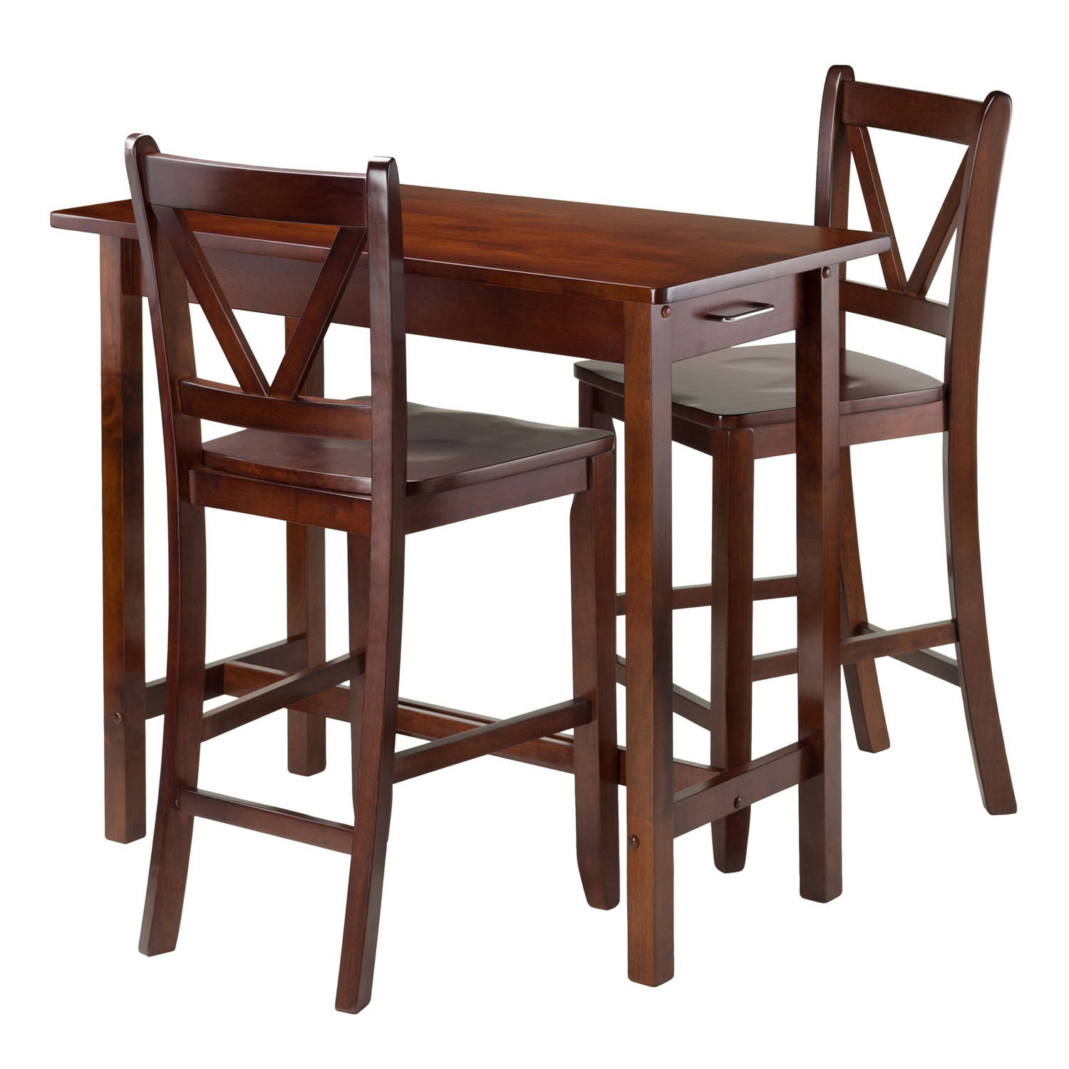 Winsome 3 Piece Island Kitchen Table With 2 V Back Counter Stools For Newest Winsome 3 Piece Counter Height Dining Sets (View 7 of 20)