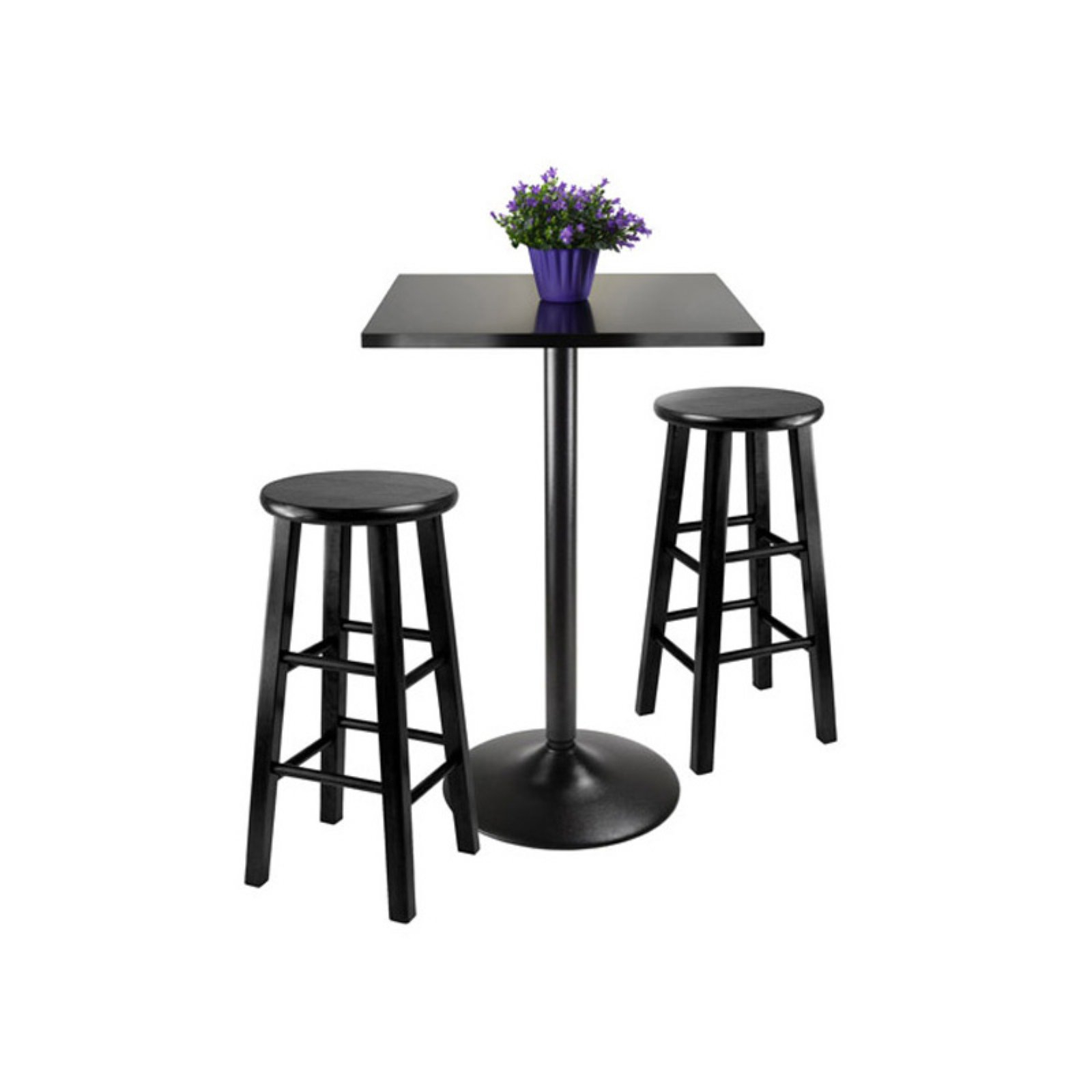 Winsome Obsidian Black 3 Piece Counter Height Dining Set With Stools In Latest Winsome 3 Piece Counter Height Dining Sets (Image 12 of 20)