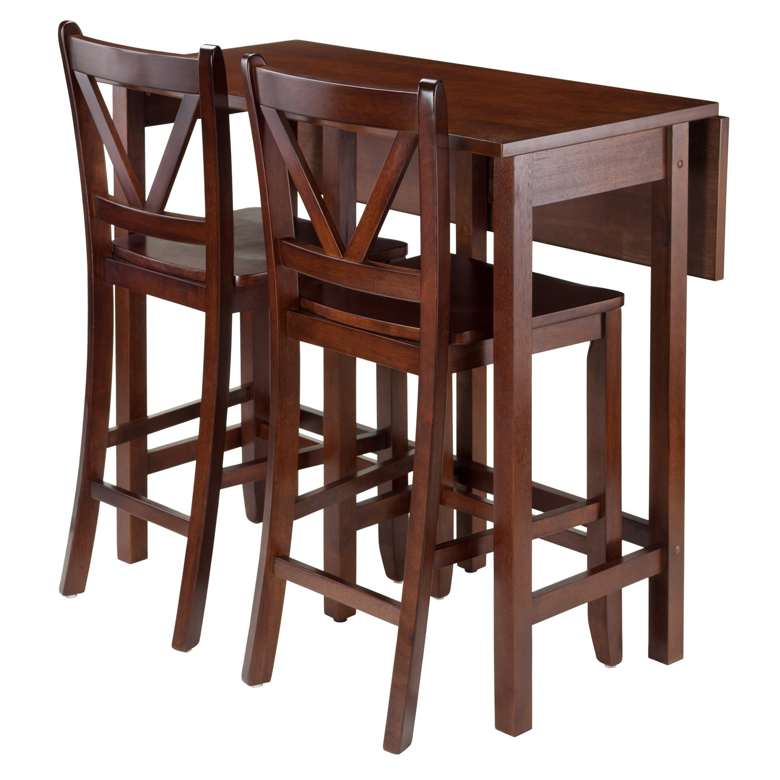 Winsome Trading Lynnwood 3 Piece Counter Height Dining Table Set In Most Up To Date Bettencourt 3 Piece Counter Height Solid Wood Dining Sets (View 15 of 20)