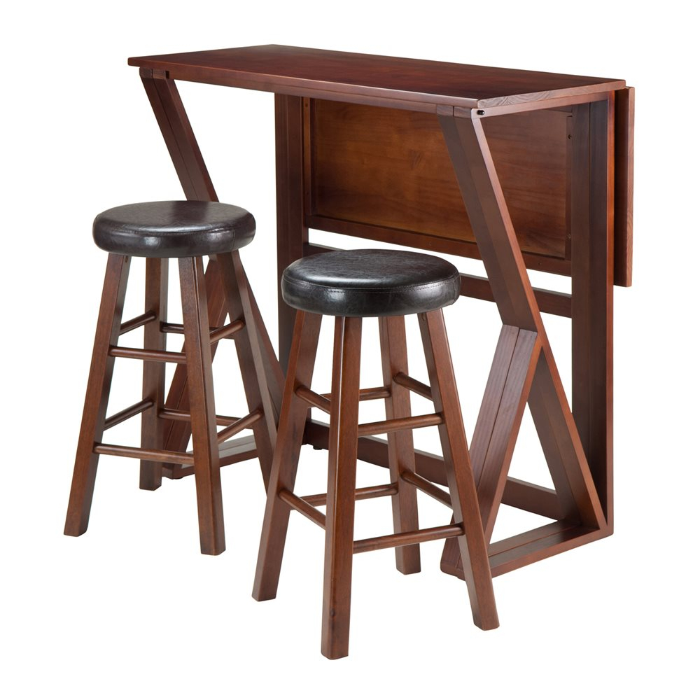 Winsome Wood 943 Harrington 3 Piece Drop Leaf High Table Set With Round Seat Stools Pertaining To Most Recent Winsome 3 Piece Counter Height Dining Sets (Photo 2 of 20)