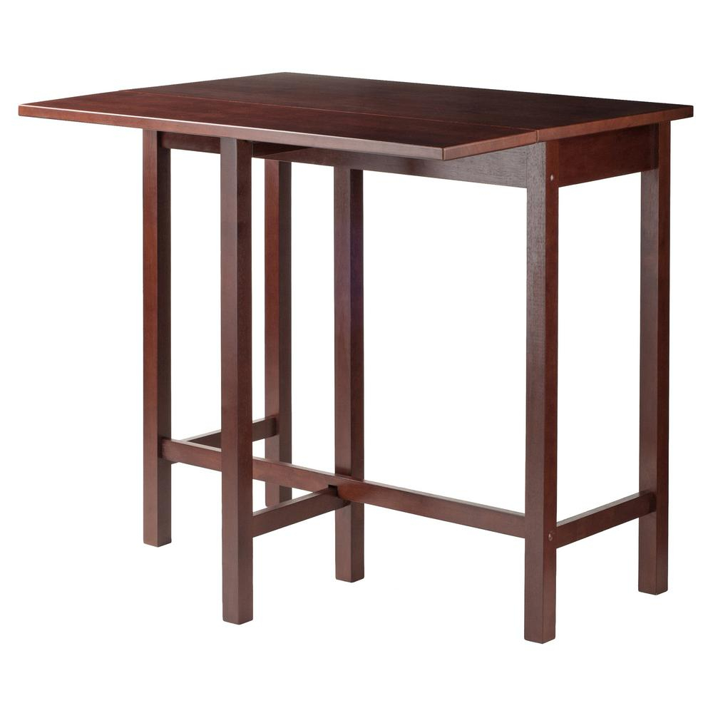 Winsome Wood Lynnwood Drop Leaf High Table In Walnut 94149 – The Throughout Most Recently Released Winsome 3 Piece Counter Height Dining Sets (View 16 of 20)