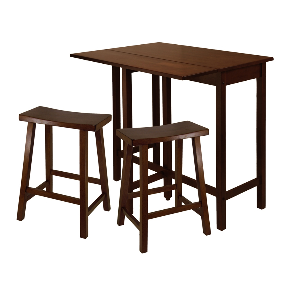 Winsome Wood Lynnwood Three Piece High Drop Leaf Table Dining Set For Latest Winsome 3 Piece Counter Height Dining Sets (Image 19 of 20)