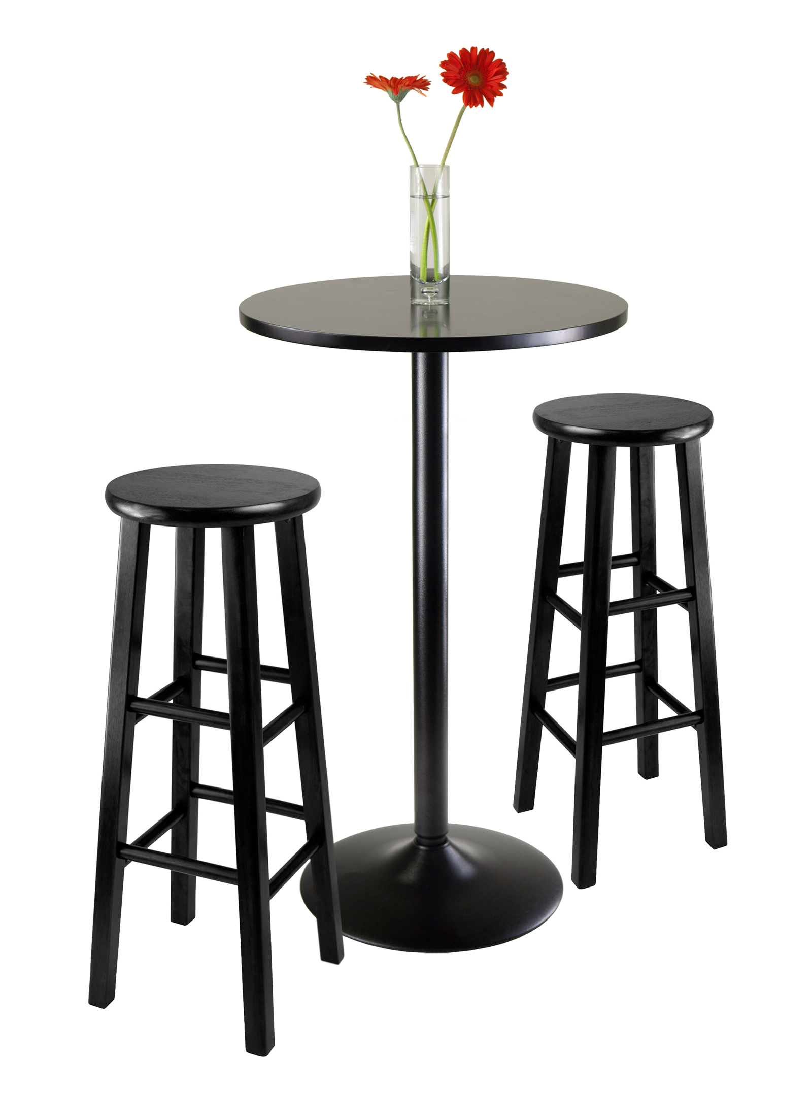 Winsome Wood Obsidian 3 Piece Round Black Pub Table Set With Regard To Most Recent Winsome 3 Piece Counter Height Dining Sets (Image 20 of 20)