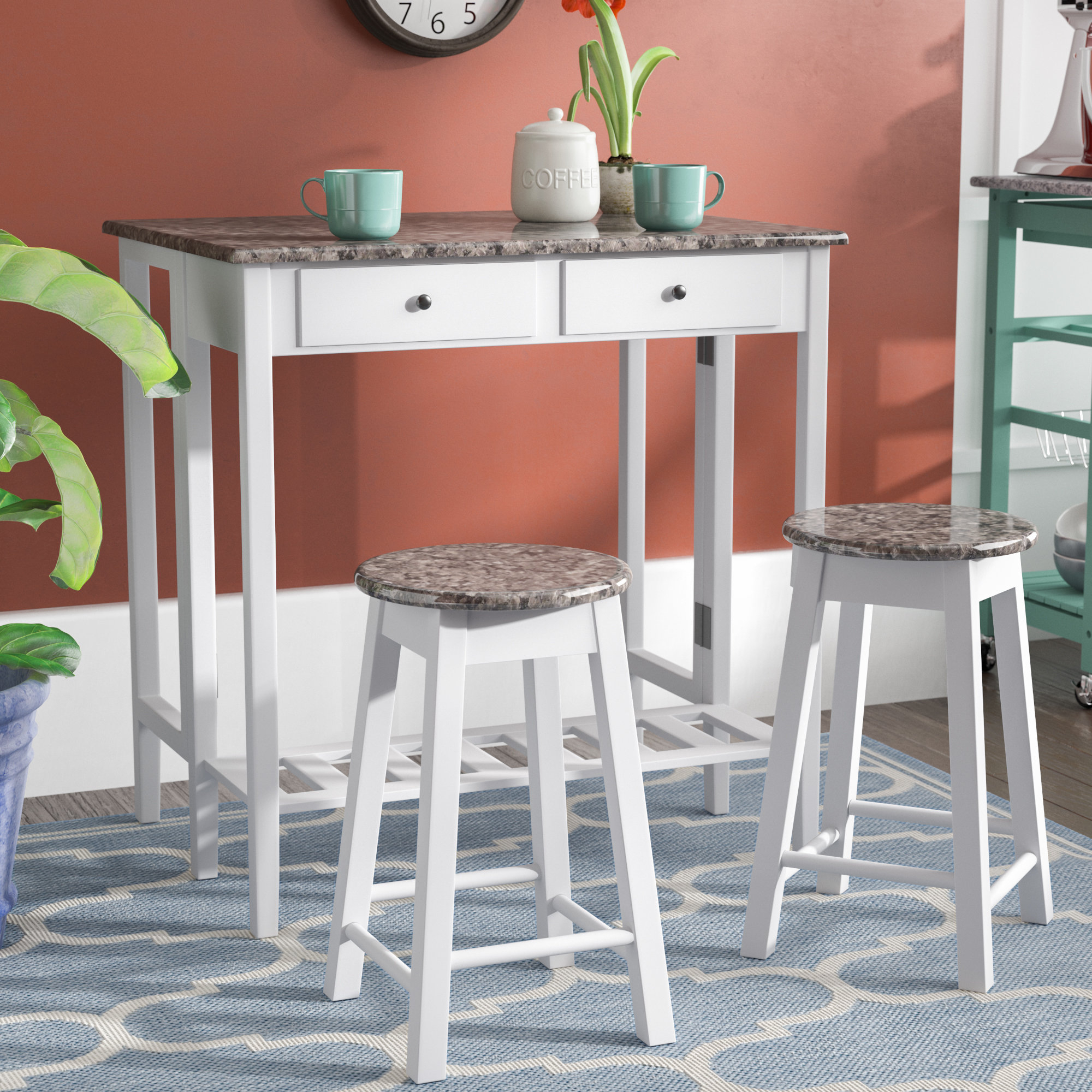 Winston Porter Cardwell Breakfast 3 Piece Dining Table Set With Recent Wallflower 3 Piece Dining Sets (Image 20 of 20)
