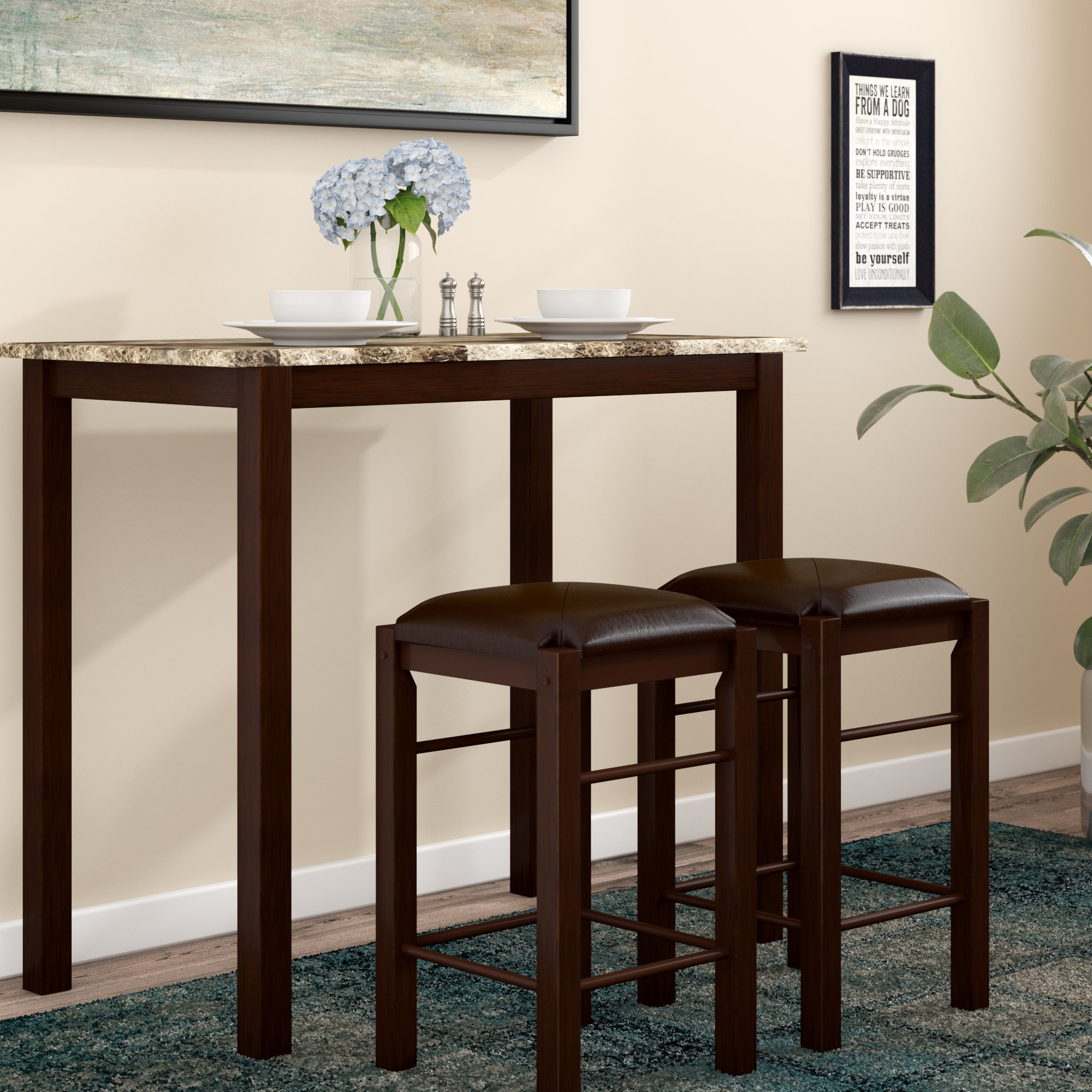 Winston Porter Penelope 3 Piece Counter Height Wood Dining Set Intended For 2017 Mizpah 3 Piece Counter Height Dining Sets (Image 20 of 20)