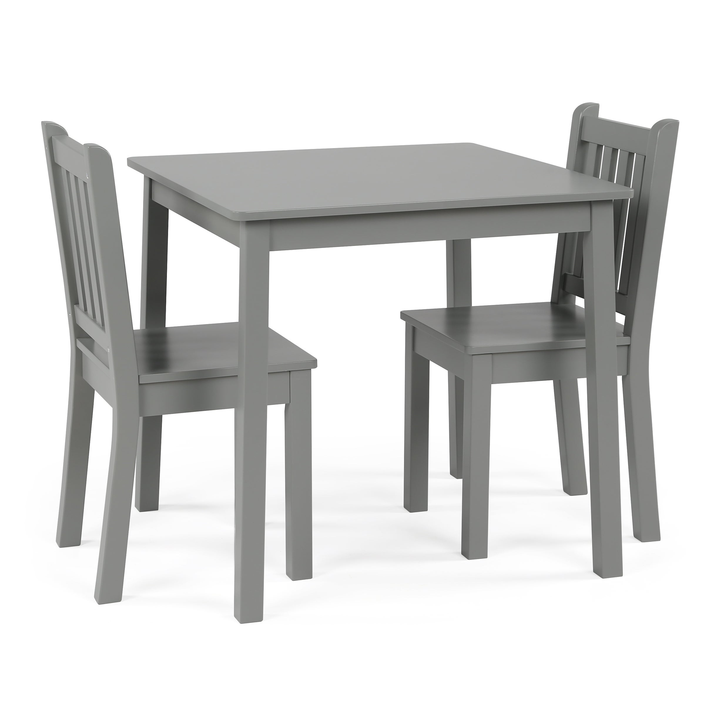 Wood Kids Table & Chairs 3 Piece Set, Grey Regarding Most Current Springfield 3 Piece Dining Sets (View 10 of 20)