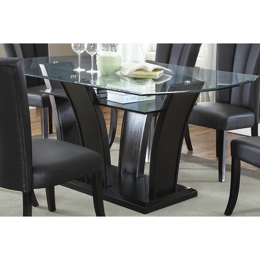 Wooden Futuristic Dining Table With 12Mm Glass Top Black Intended For Most Current Northwoods 3 Piece Dining Sets (Image 20 of 20)