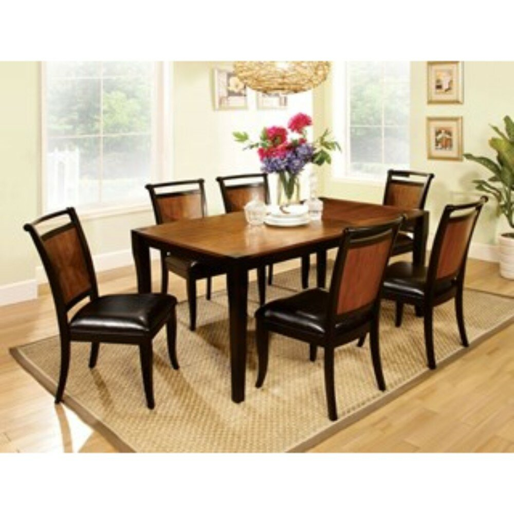 Woolum 7 Piece Solid Wood Dining Set Pertaining To Best And Newest Goodman 5 Piece Solid Wood Dining Sets (Set Of 5) (Image 19 of 20)