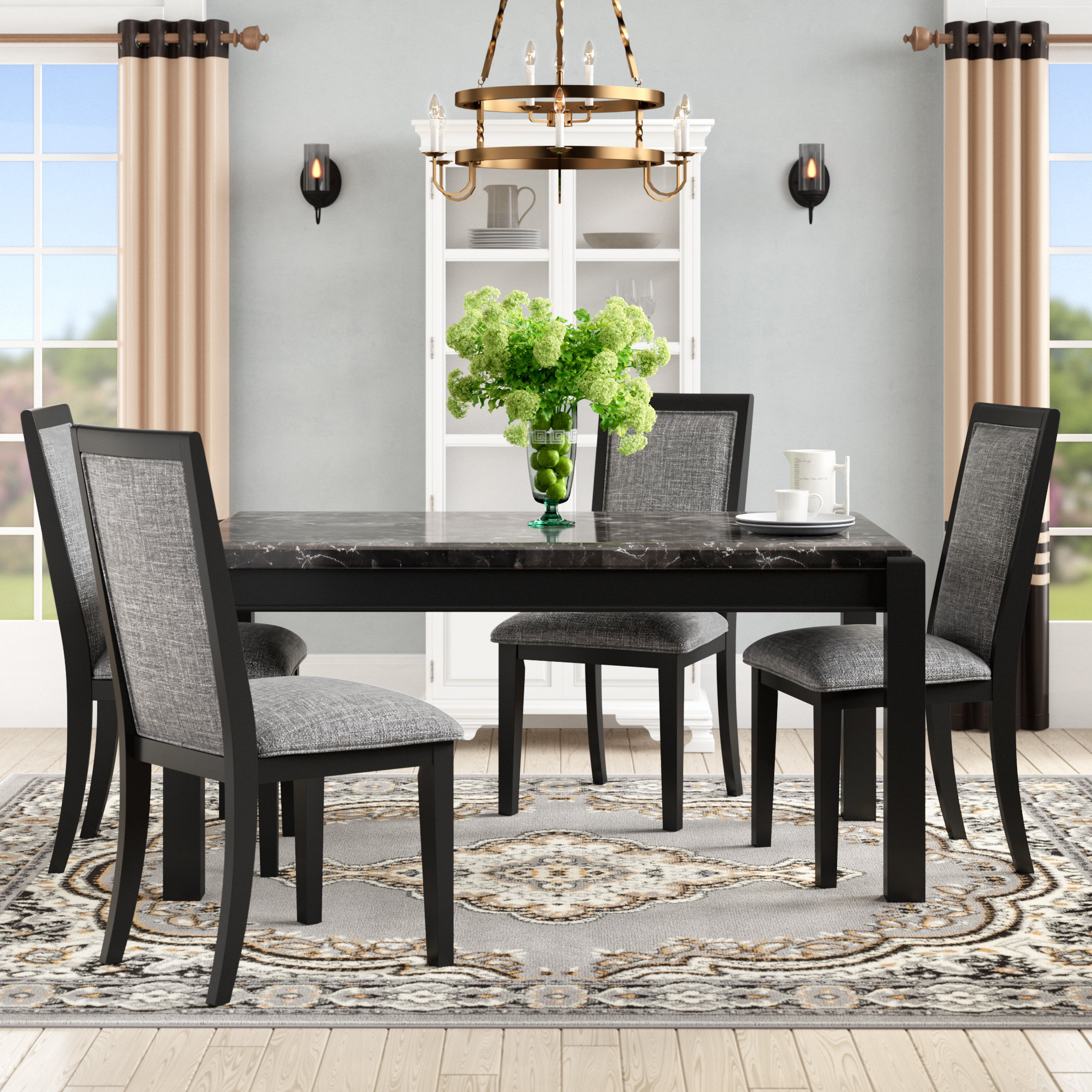 Wozniak 5 Piece Solid Wood Dining Set In Most Popular Isolde 3 Piece Dining Sets (Image 19 of 20)