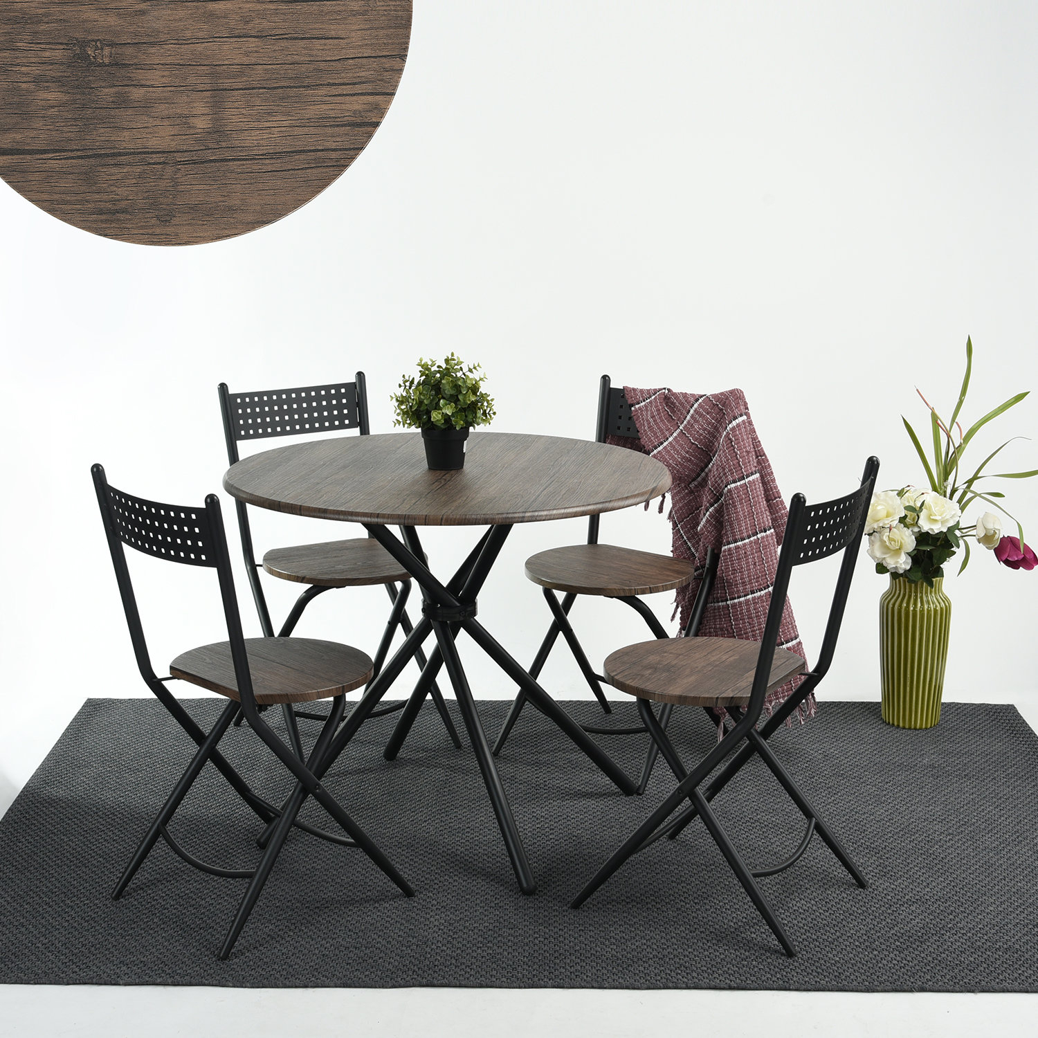Wrought Studio Burdett 5 Piece Dining Set Regarding Most Recently Released Kaelin 5 Piece Dining Sets (View 9 of 20)
