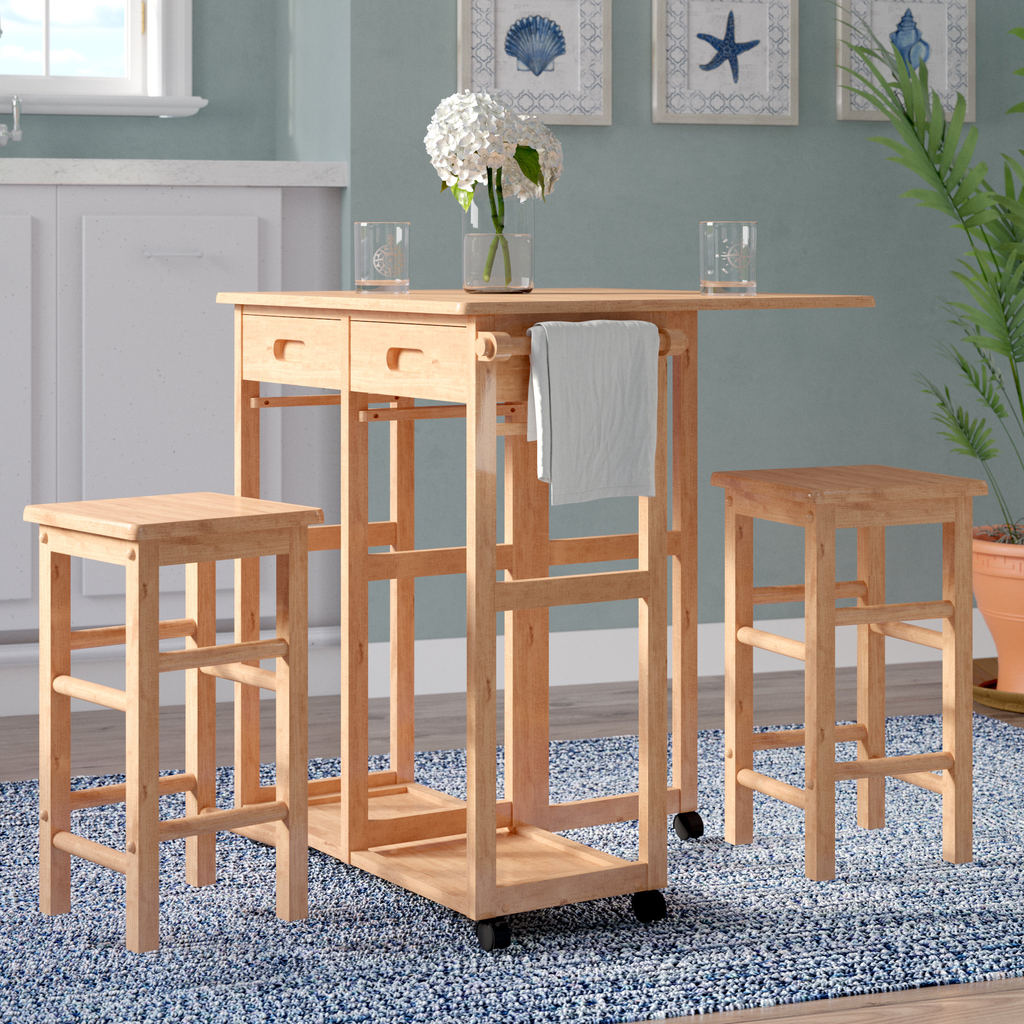 Wynyard 3 Piece Pub Table Set Intended For Recent Kaya 3 Piece Dining Sets (Image 20 of 20)