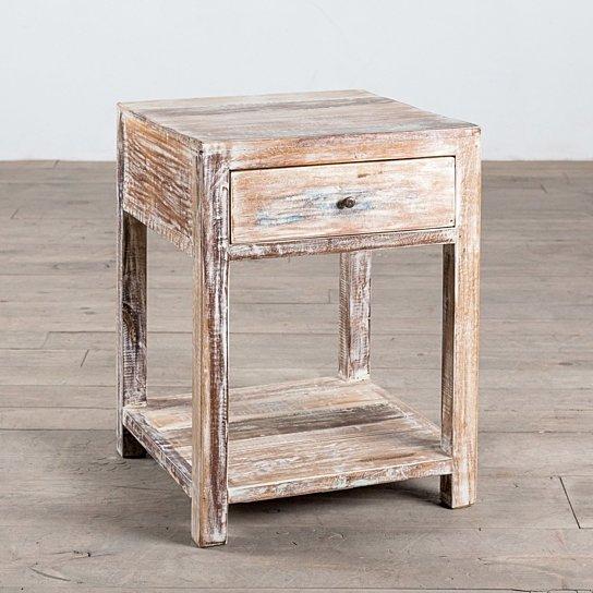 1 Drawer Stripped Teak Side Table Regarding Handmade Whitewashed Stripped Wood Tables (Image 1 of 25)
