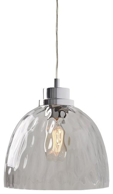 1 Light Textured Glass Bowl Pendant Light Chrome/glass In Vintage Edison 1 Light Bowl Pendants (View 20 of 25)