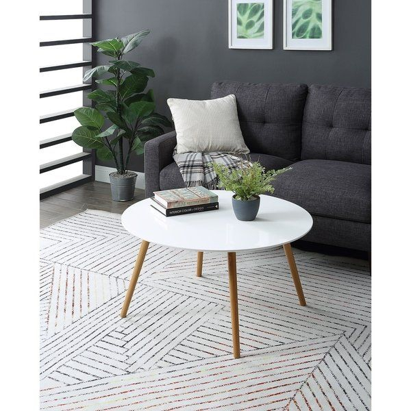 $139 Convenience Concepts Oslo White Top Natural Wood Legs In Carson Carrington Arendal Guitar Pick Nesting Coffee Tables (View 6 of 25)