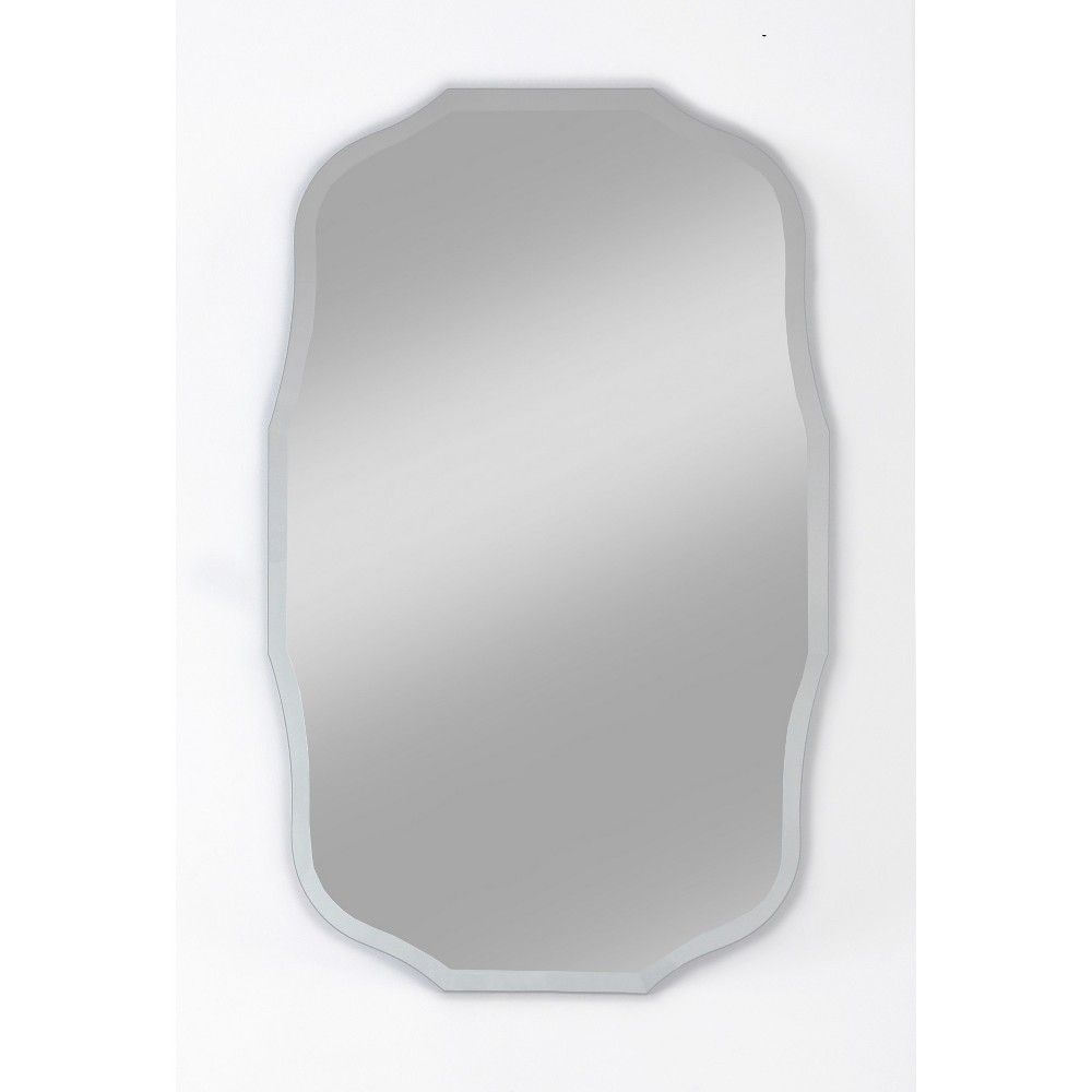 "15"" X 24"" Madison Frameless Decorative Beveled Glass Wall Throughout Reign Frameless Oval Scalloped Beveled Wall Mirrors (Image 2 of 20)"