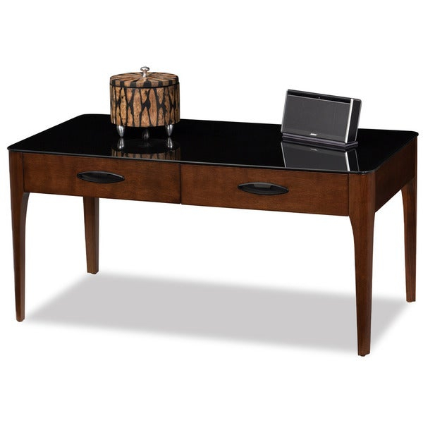 2 Drawer Chestnut Finish Wood Coffee Table With Black Glass Top With Regard To Copper Grove Obsidian Black Tempered Glass Apartment Coffee Tables (View 4 of 25)
