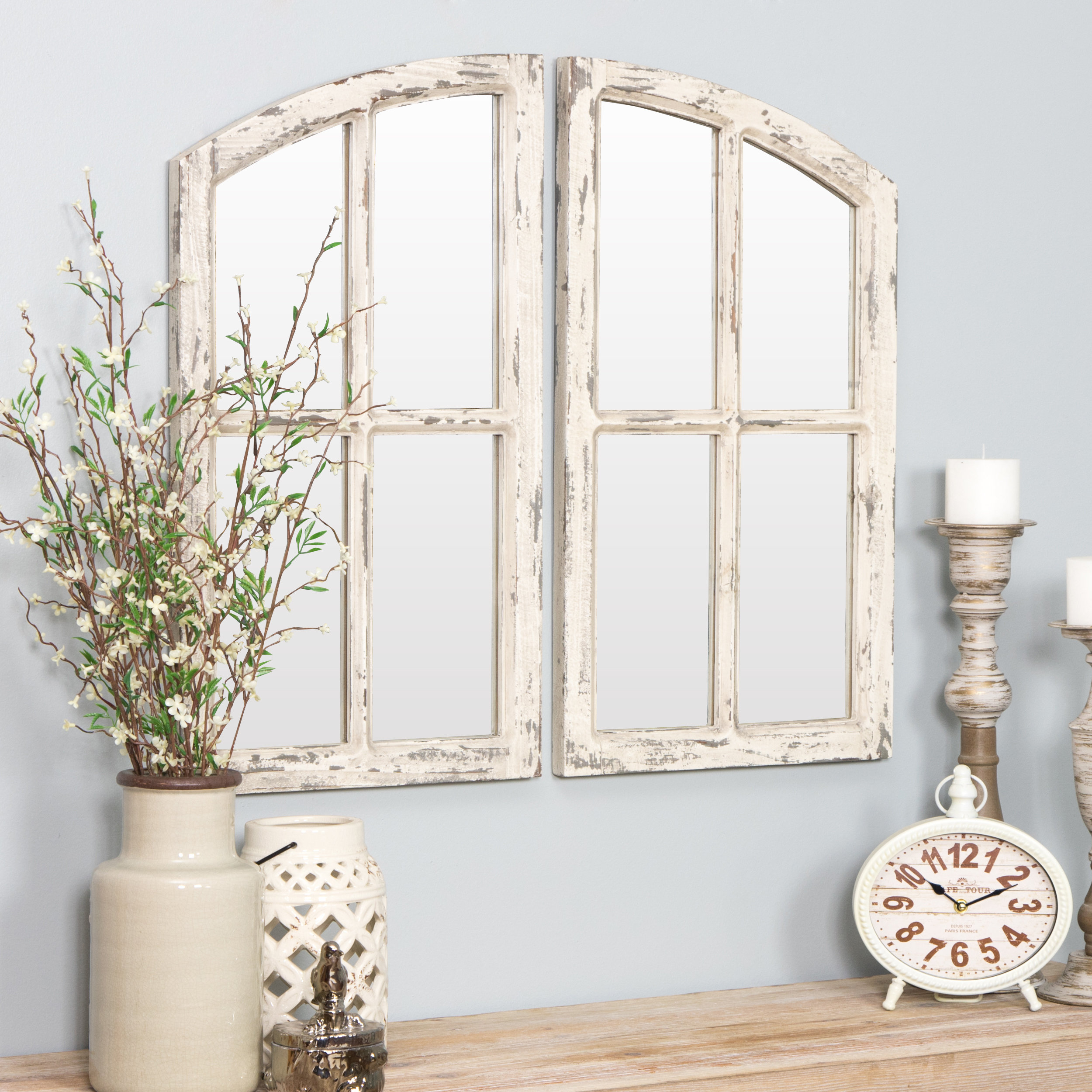 Featured Image of 2 Piece Kissena Window Pane Accent Mirror Sets
