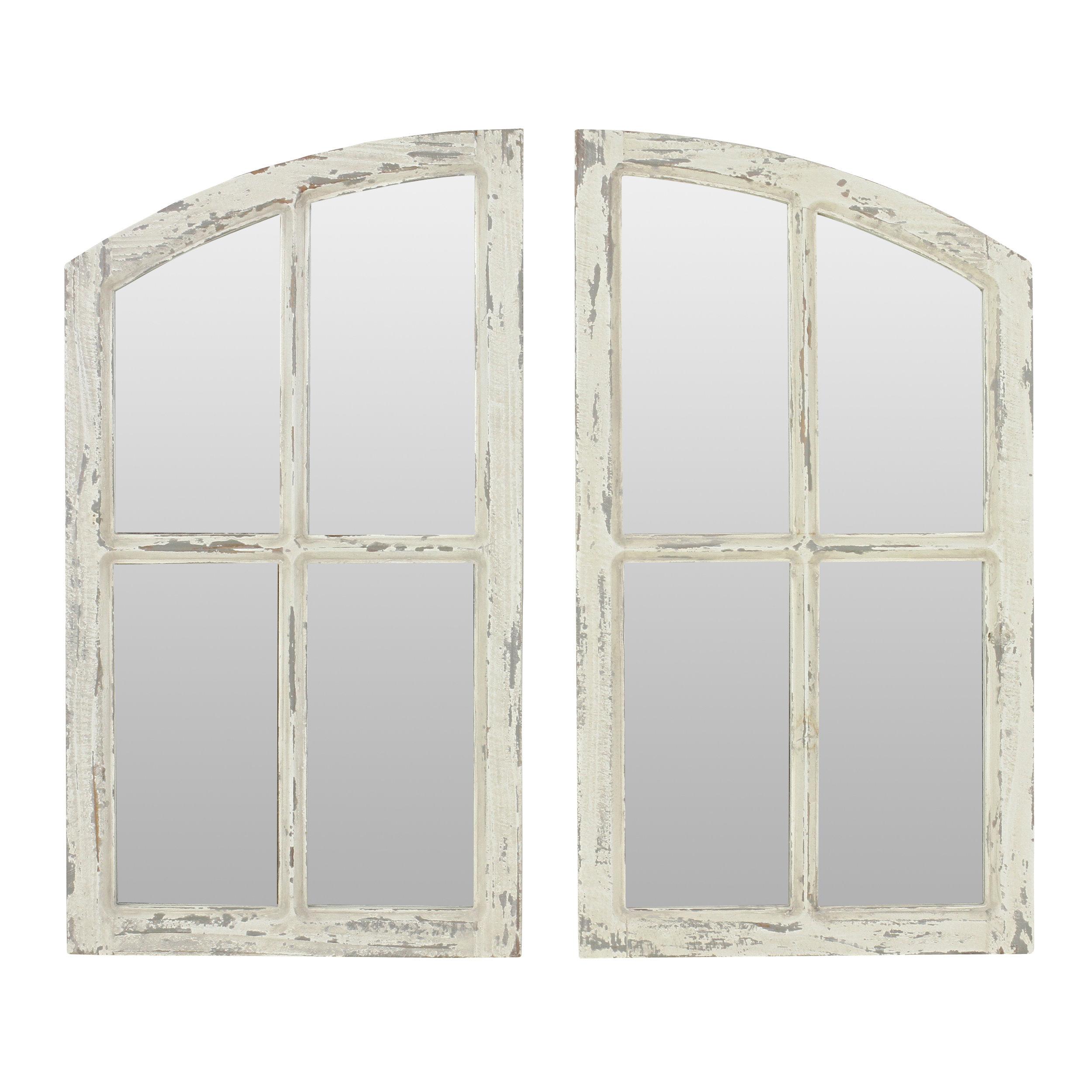 2 Piece Kissena Window Pane Accent Mirror Set Inside 2 Piece Kissena Window Pane Accent Mirror Sets (View 3 of 20)