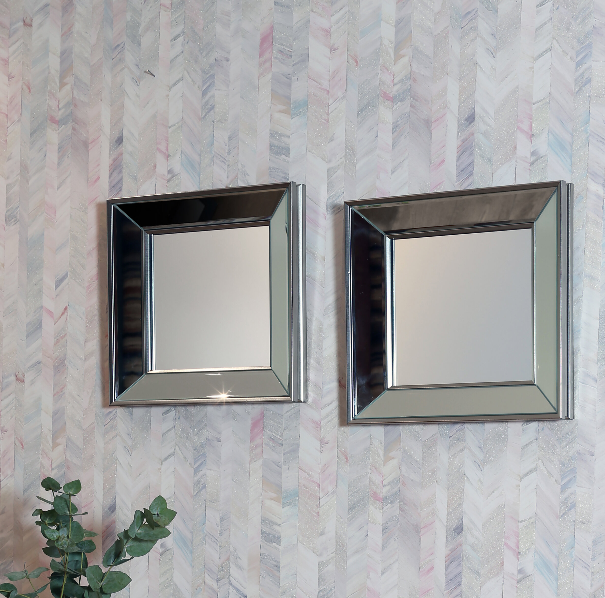 2 Piece Mirror Set | Wayfair Inside 2 Piece Priscilla Square Traditional Beveled Distressed Accent Mirror Sets (View 12 of 20)