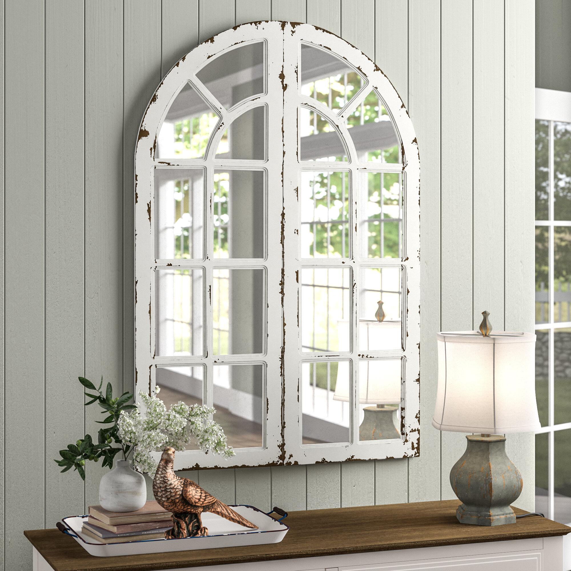 2 Piecehovis Window Panels Cottage Mirror Set Within 2 Piece Kissena Window Pane Accent Mirror Sets (View 4 of 20)