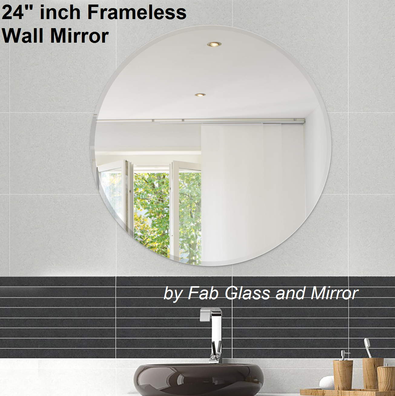 24 Inch Round Frame Less Wall Mirrors | Master Bathroom In Celeste Frameless Round Wall Mirrors (View 10 of 20)