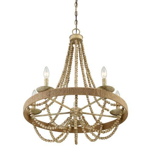 251 First Selby Natural Wood Five Light Chandelier | Dining With Duron 5 Light Empire Chandeliers (Image 1 of 20)