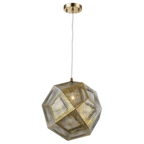 251 First Uptown Rose Gold 12 Inch One Light Pendant Inside 1 Light Geometric Globe Pendants (Image 11 of 25)