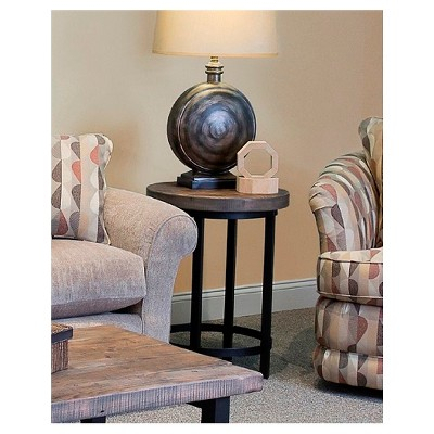 "27"" Pomona Diameter Round End Table Rustic Natural Regarding Carbon Loft Lawrence Reclaimed Cube Coffee Tables (Image 1 of 50)"