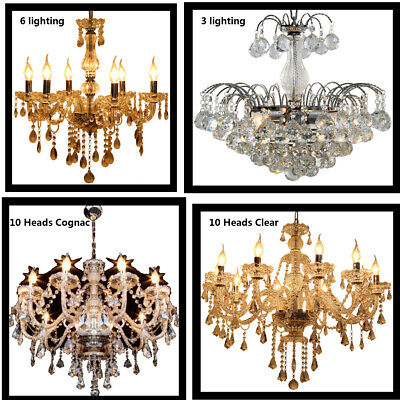 3/6/10 Light Clear/cognac Crystal Chandelier Home Room With Regard To Clea 3 Light Crystal Chandeliers (Image 3 of 20)
