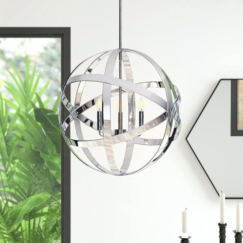 3 Light Globe Chandelier Antique Bronze Wrought Iron Cage Regarding La Barge 3 Light Globe Chandeliers (View 10 of 20)