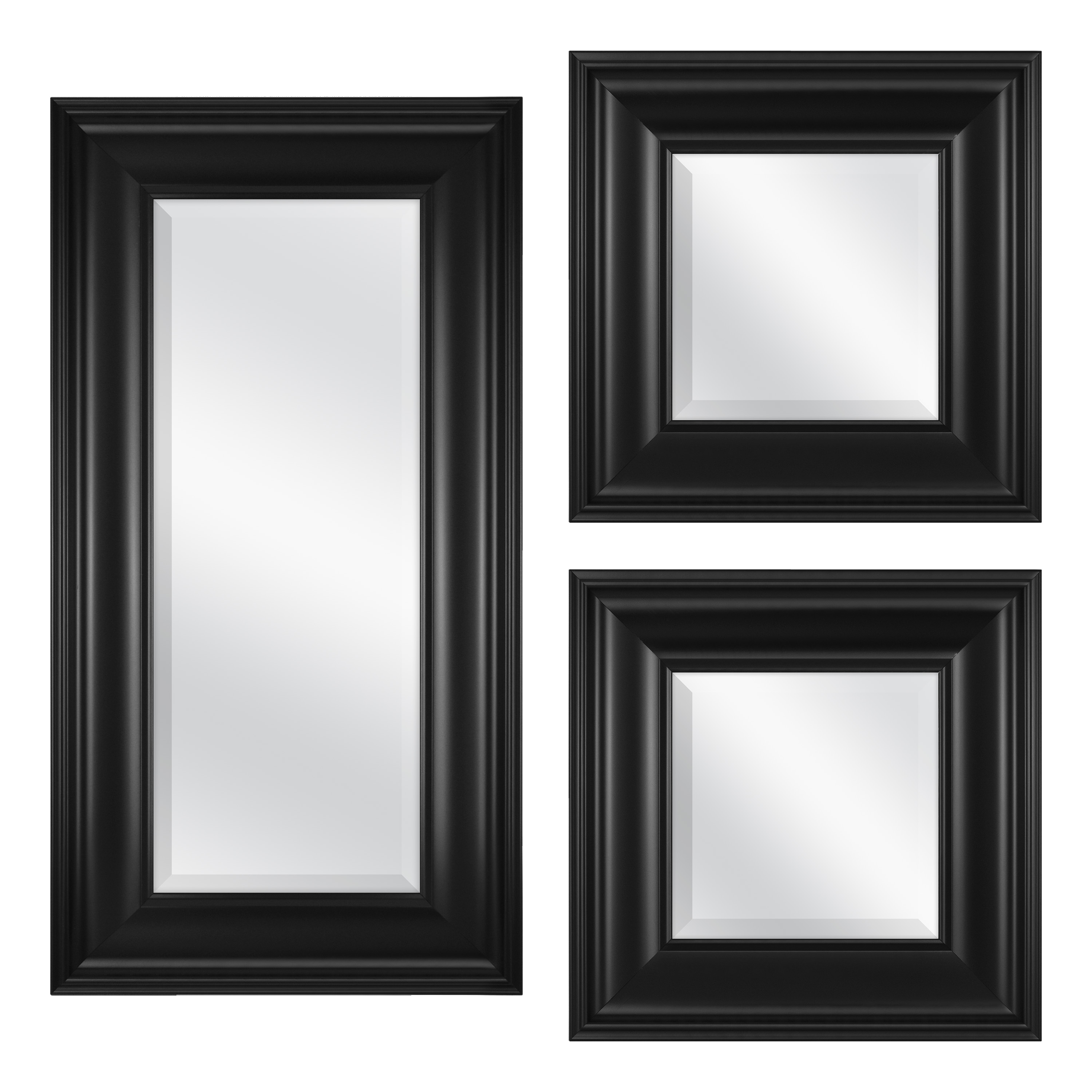 """3 Piece Black Accent Mirror Set, (2) 8"""" X 8"""" Mirrors And (1) 8"""" X 20""""  Mirror, Black Finish Within Glam Beveled Accent Mirrors (Photo 15 of 20)"""