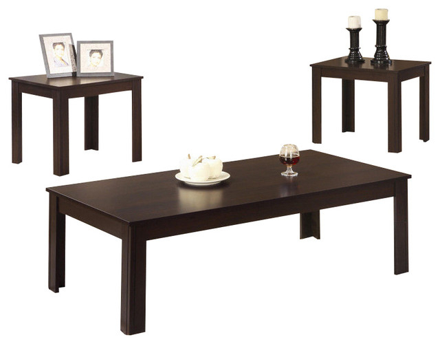 3 Piece Classic Casual Dark Walnut Black Coffee End Occasional Table Set Pertaining To Occasional Contemporary Black Coffee Tables (Photo 24 of 25)