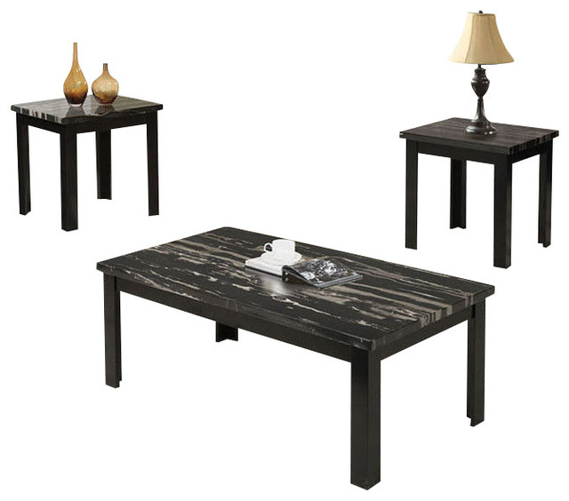 3 Piece Wooden Block Legs Black Faux Marble Top Coffee End Occasional Table  Set Intended For Occasional Contemporary Black Coffee Tables (Photo 2 of 25)