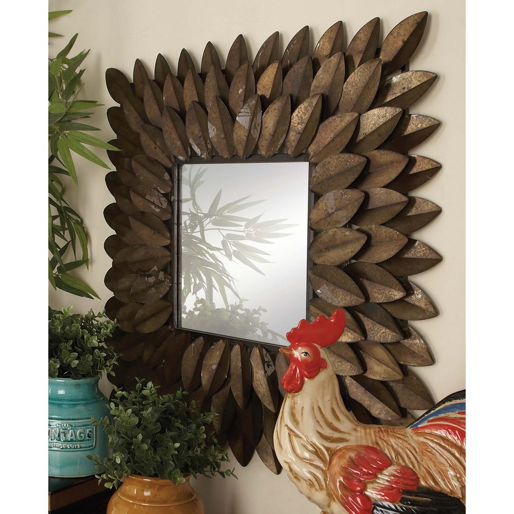 30 In. X 30 In. New Traditional Radiating Espresso Brown Tin Leaves Framed  Wall Mirror Intended For Traditional Metal Wall Mirrors (Photo 6 of 20)