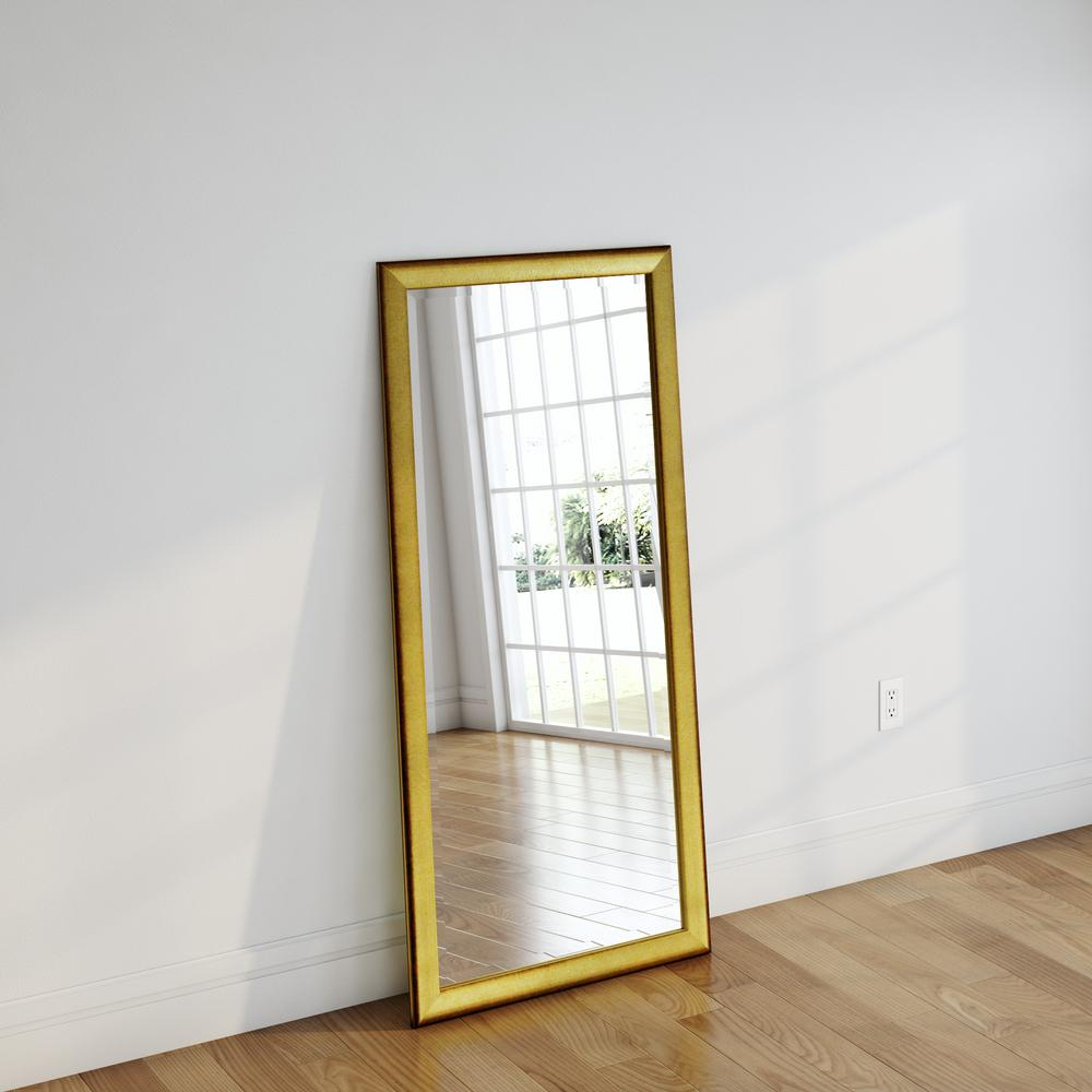 30 In. X 63 In. Vintage Gold Beveled Full Body Mirror Inside Handcrafted Farmhouse Full Length Mirrors (Photo 14 of 20)