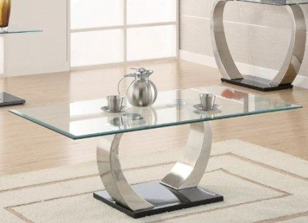 $303Amazon: Coffee Table With Glass Top In Silver And Inside Carmella Satin Plated Coffee Tables (View 7 of 50)