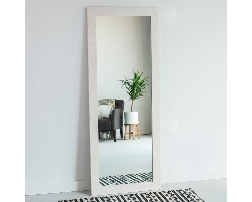 34X56 Whitewashed Ash Full Length Mirror, Floor Mirror, Wardrobe Mirror,  Leaning Mirror, Vanity Mirror, Modern, Rustic, Farmhouse In Handcrafted Farmhouse Full Length Mirrors (Image 2 of 20)