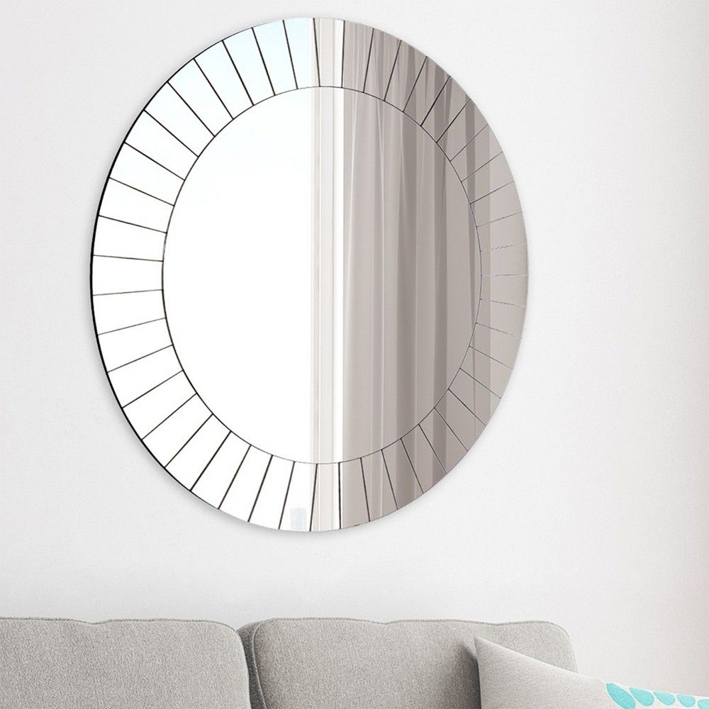 35 Frameless Beveled Round Wall Mirror Silver – Gallery Inside Lidya Frameless Beveled Wall Mirrors (Photo 3 of 20)