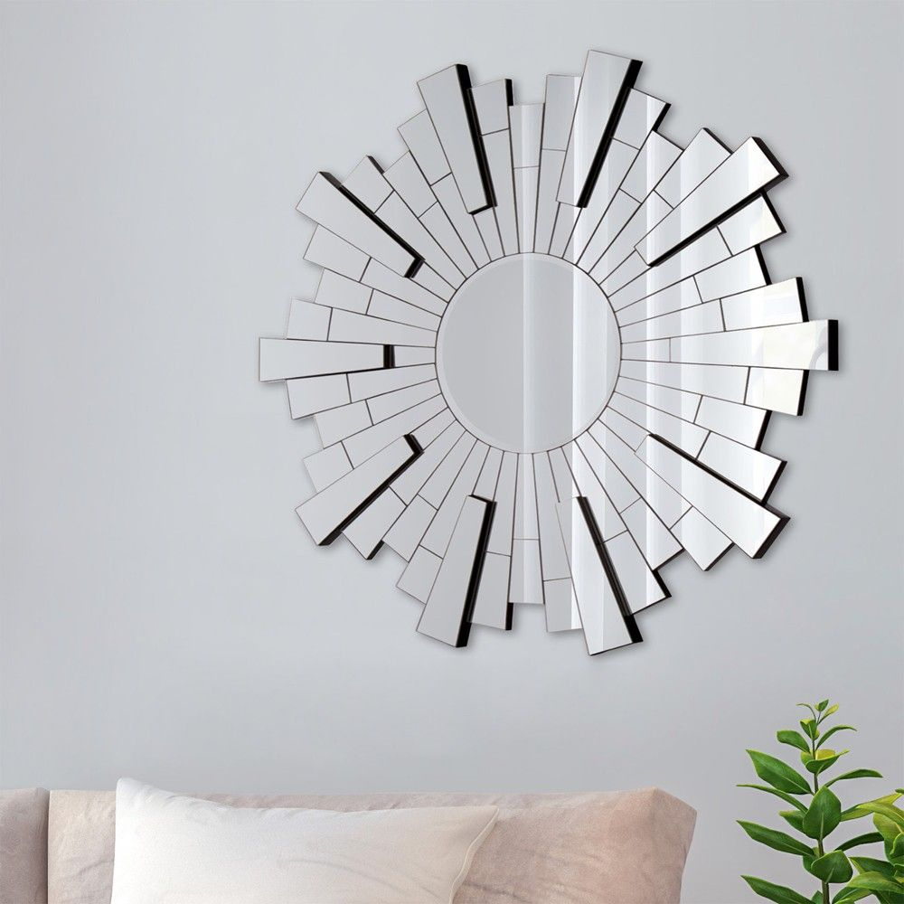 36 Beveled Starburst Accent Mirror Silver – Gallery Pertaining To Hussain Tile Accent Wall Mirrors (Photo 13 of 20)
