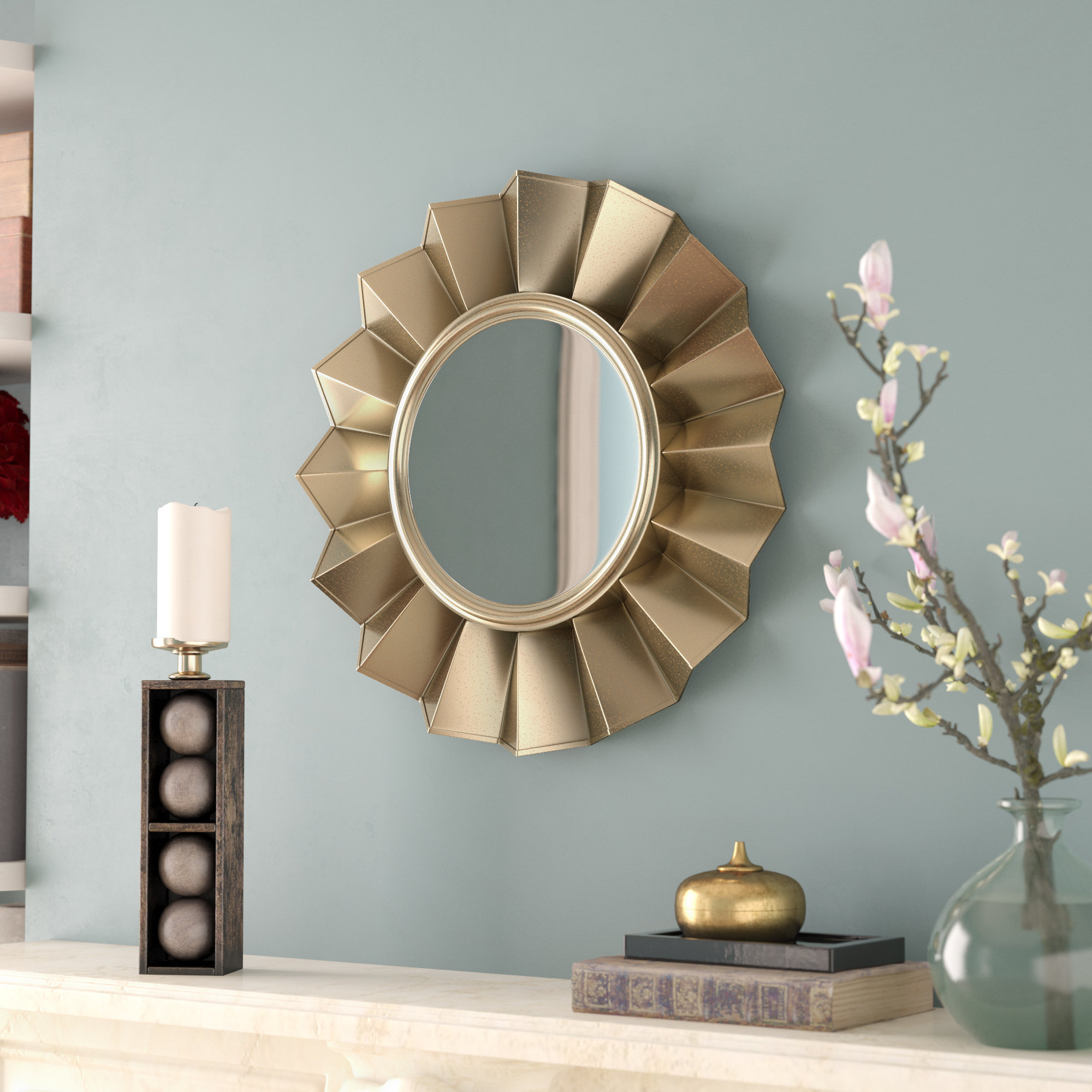 36 Inch Round Wall Mirror Gold | Wayfair Regarding Tata Openwork Round Wall Mirrors (Image 1 of 20)