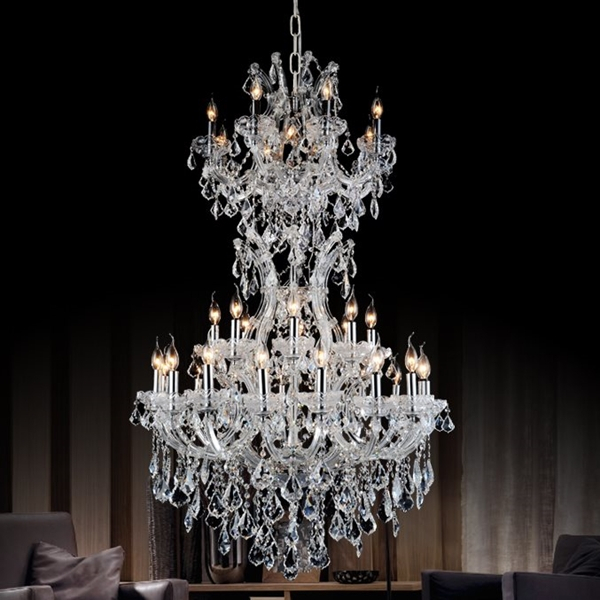 """36"""" Maria Theresa Traditional Crystal Round 3 Tier Chandelier Polished  Chrome / Gold Plated 34 Lights Inside Emaria 3 Light Single Drum Pendants (Image 1 of 25)"""