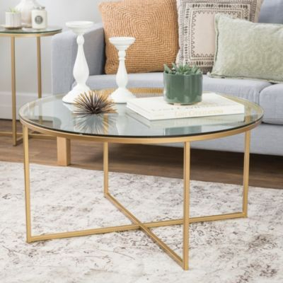 36 Round Glass Coffee Table With Gold Metal X Base Pertaining To Silver Orchid Henderson Faux Stone Round End Tables (Photo 16 of 25)