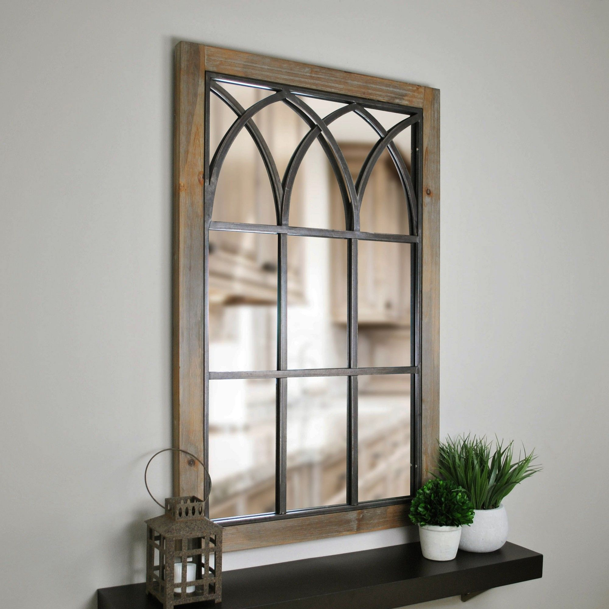 """37.5""""x24"""" Grandview Arched Window Mirror Brown – Firstime In In Polito Cottage/country Wall Mirrors (Photo 19 of 20)"""